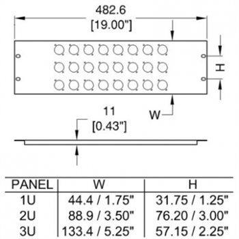 Penn Elcom 2U Rack Panel Punched For 16 x XLR or SpeakON - R1269/2UK/16 - Cases2GO